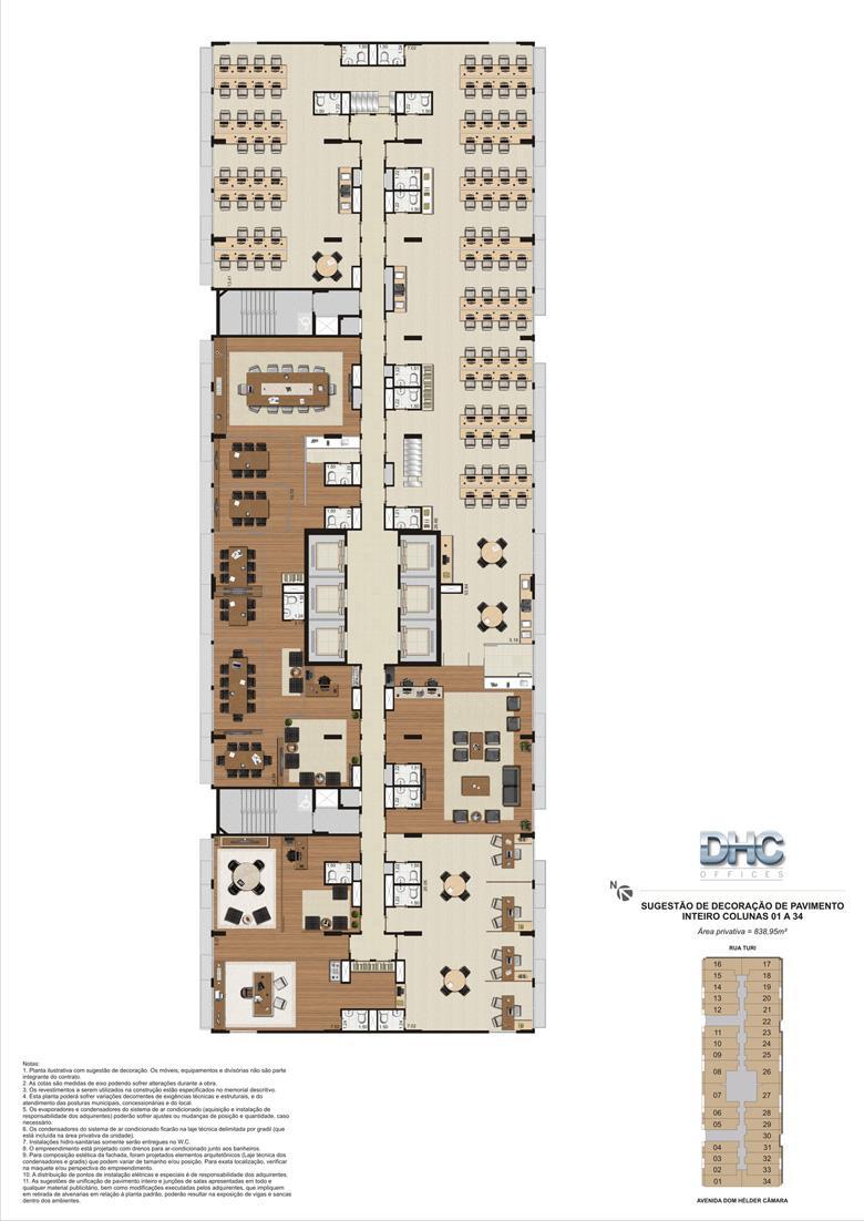 Sugestão de Decoração de Pavimento Inteiro - Colunas 01 a 34 | DHC Offices – Salas Comerciais em  Pilares - Rio de Janeiro - Rio de Janeiro