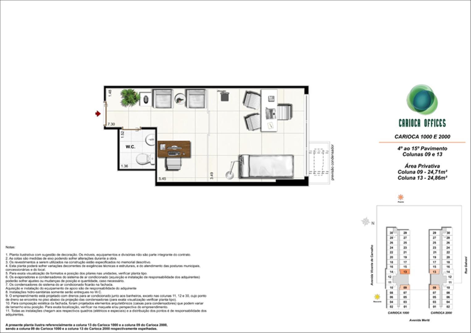 Sugestão de decoração - Carioca 1000 e 2000 - Colunas 09 -13 - 4º ao 15º Pavimento | Carioca Offices – Salas Comerciais na  Vila da Penha - Rio de Janeiro - Rio de Janeiro