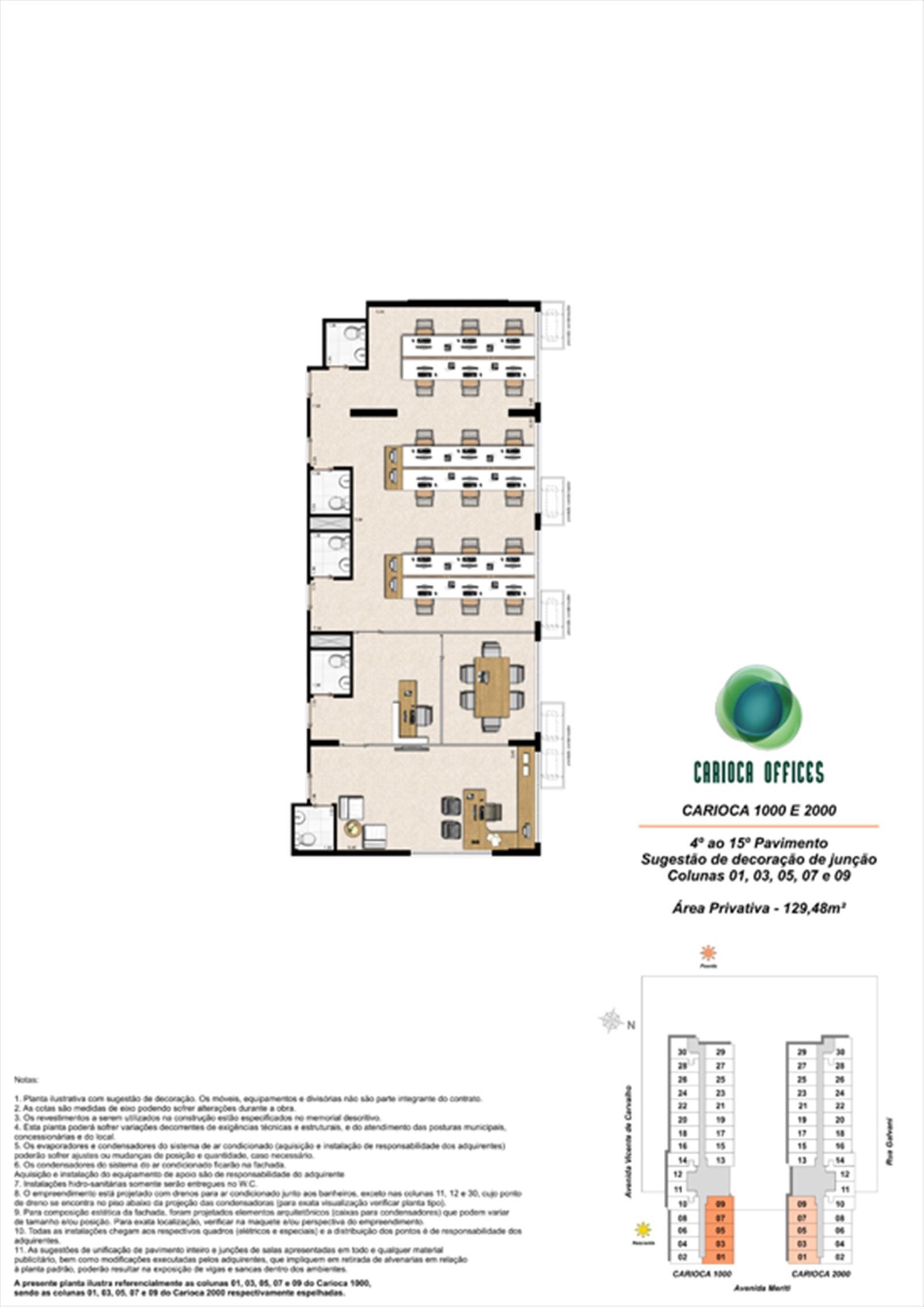 Sugestão de decoração de junção - Carioca 1000 e 2000 - colunas 01, 03, 05, 07 e 09 - 4º ao 15º Pavimento | Carioca Offices – Salas Comerciaisna  Vila da Penha - Rio de Janeiro - Rio de Janeiro