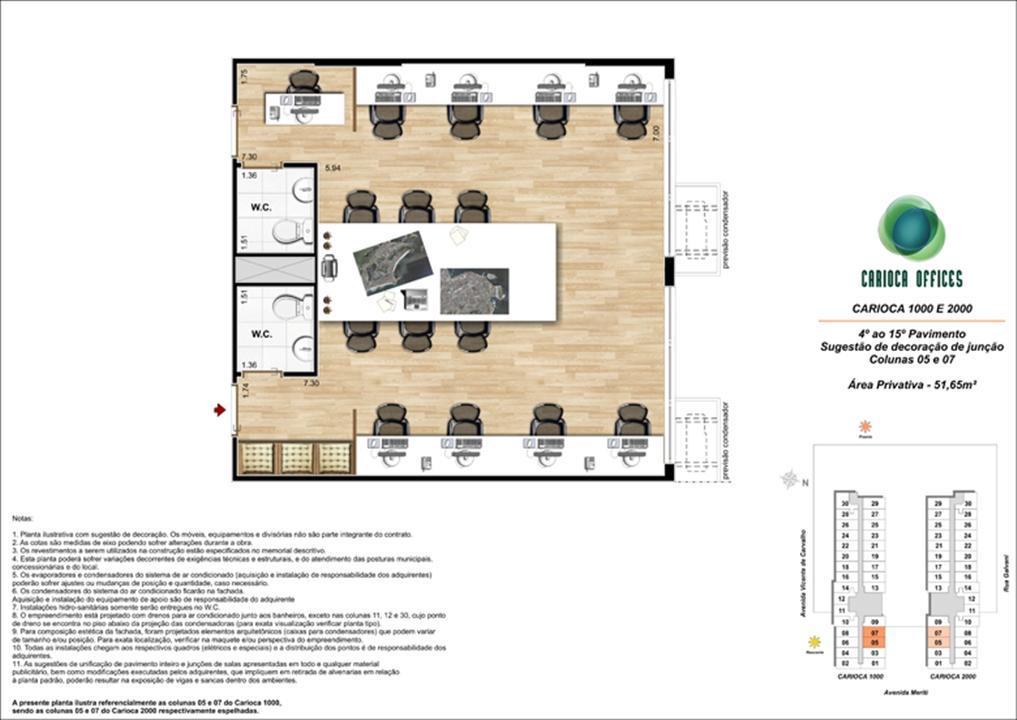 Sugestão de decoração de Junção - Carioca 1000 e 2000 - colunas 05 e 07 - 4º ao 15º Pavimento | Carioca Offices – Salas Comerciaisna  Vila da Penha - Rio de Janeiro - Rio de Janeiro