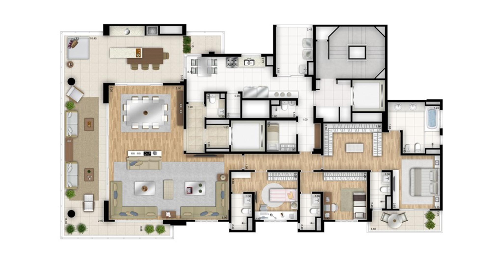 Planta tipo opção 3 suítes com sala de banho na suíte master - sala ampliada - Torre Bianco | Cyrela Essenza Moema – Apartamento em  Moema - São Paulo - São Paulo