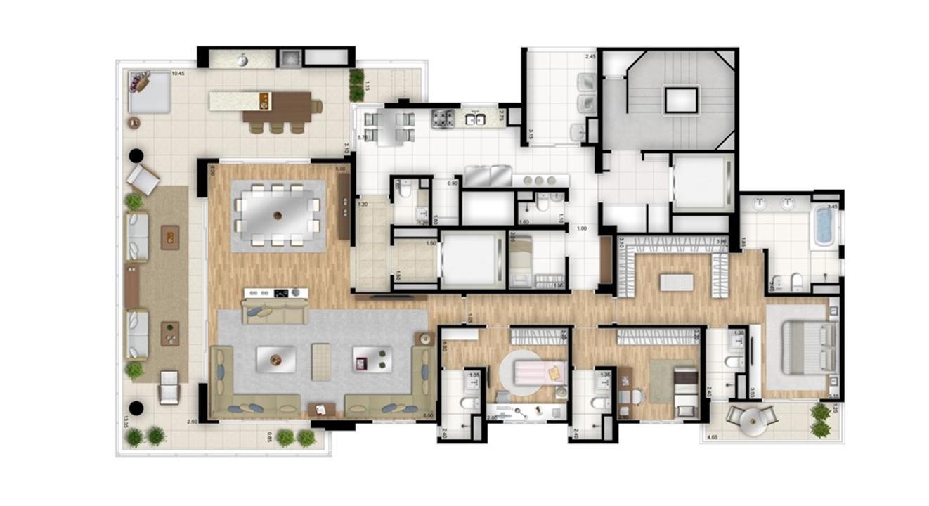 Planta tipo opção 3 suítes com sala de banho na suíte master - sala ampliada - Torre Bianco | Cyrela Essenza Moema – Apartamentoem  Moema - São Paulo - São Paulo