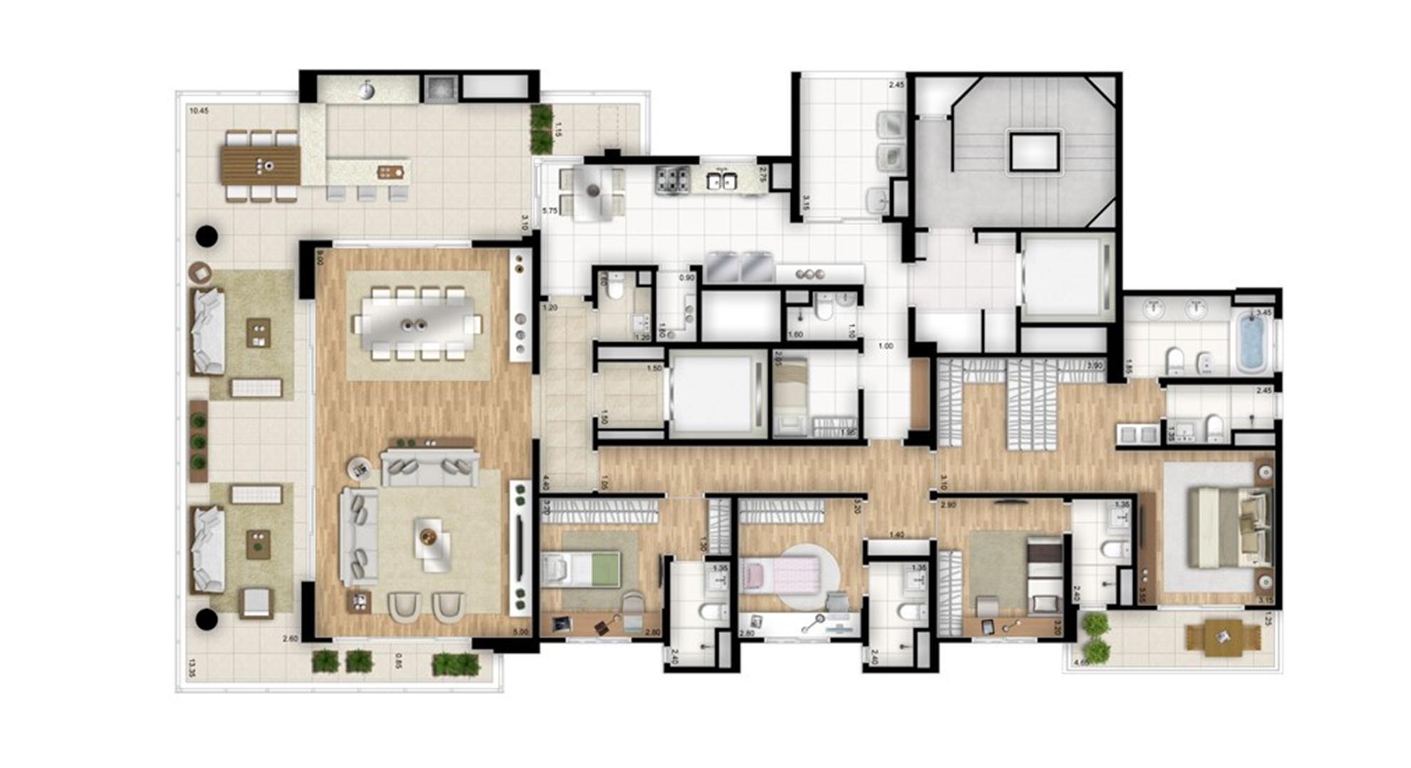 Planta tipo padrão 4 suítes banho senhor e senhora na suíte master - Torre Bianco | Cyrela Essenza Moema – Apartamento em  Moema - São Paulo - São Paulo