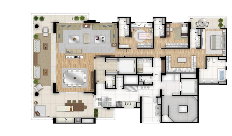 Planta tipo opção 3 suítes com sala de banho na suíte master - sala ampliada - Torre Nero | Cyrela Essenza Moema – Apartamentoem  Moema - São Paulo - São Paulo