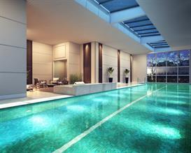 Perspectiva ilustrada da piscina coberta com raia de 25 metros integrada ao SPA e sauna