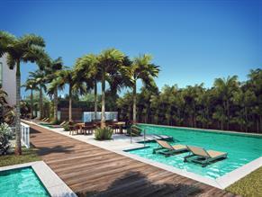 Perspectiva ilustrada das piscinas adulto e infantil com decks seco e molhado
