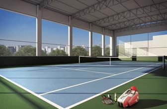 Perspectiva ilustrada da quadra de tênis oficial coberta, com medidas oficiais