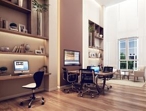 Perspectiva ilustrada do home office com pé direito duplo e ar condicionado