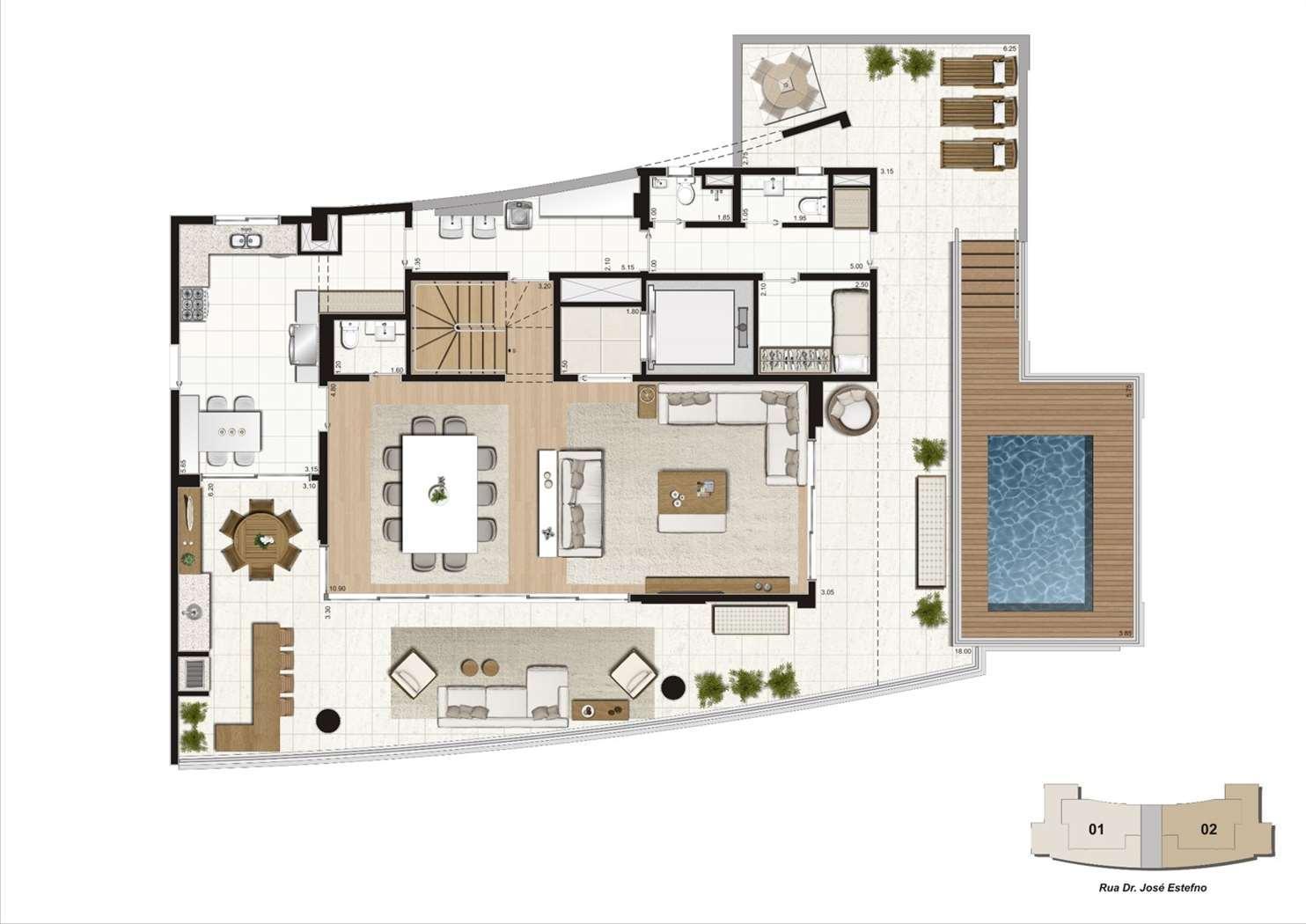 Planta cobertura duplex 460m², 4 suítes  - Pavimento inferior