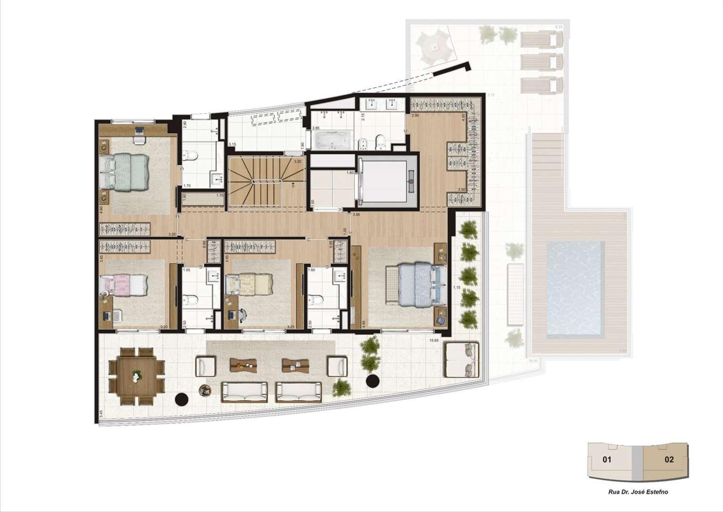Planta cobertura duplex 460m², 4 suítes  - Pavimento superior