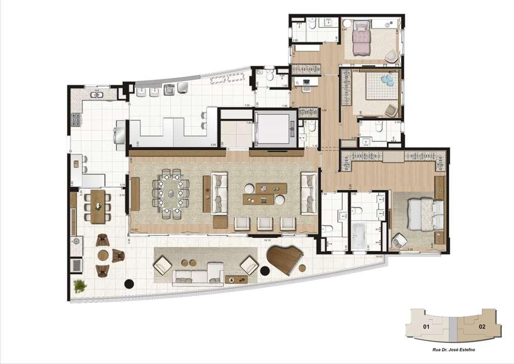 Planta 271m², sendo 5m² de depósito no subsolo - 3 suítes | K by Cyrela – Apartamentona  Chácara Klabin - São Paulo - São Paulo