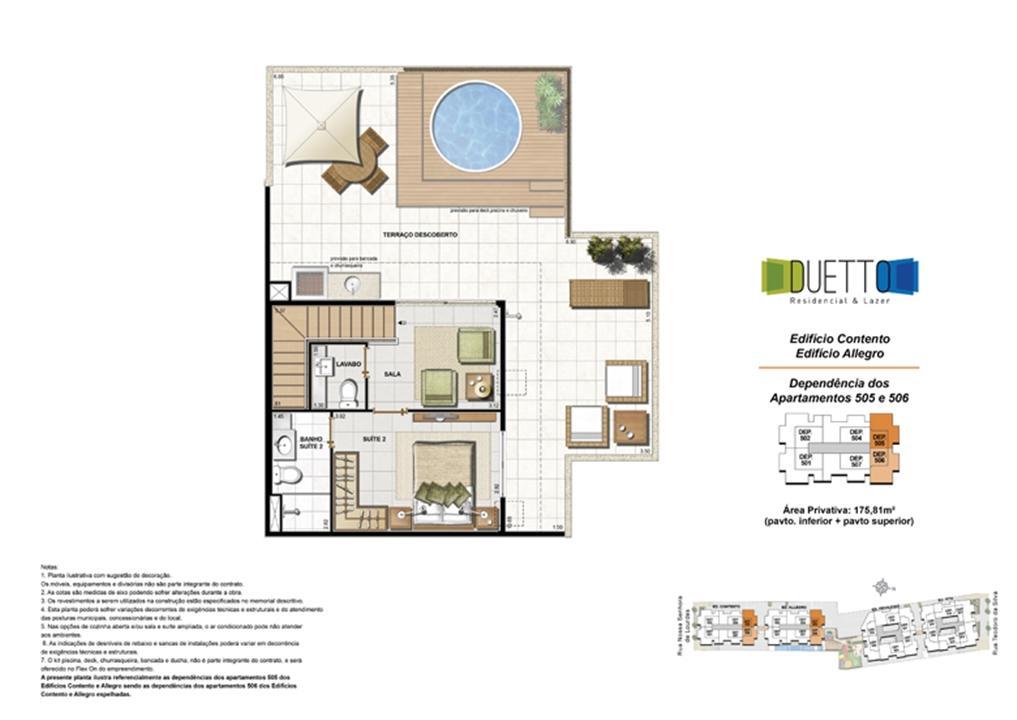 Cobertura Duplex - 3 Quartos com suíte - 175,81m² - pavto Inferior + pavto superior (2) | Duetto Residencial & Lazer – Apartamentono  Grajaú - Rio de Janeiro - Rio de Janeiro