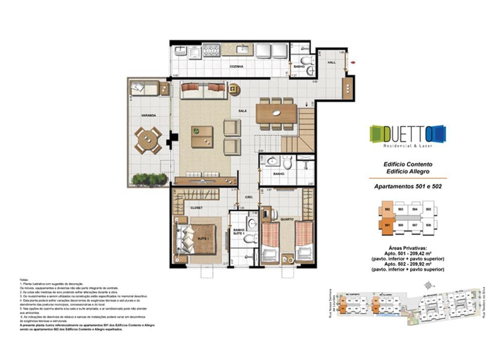 Cobertura Duplex - 3 Quartos com suíte - 209m² - pavto Inferior + pavto superior | Duetto Residencial & Lazer – Apartamentono  Grajaú - Rio de Janeiro - Rio de Janeiro