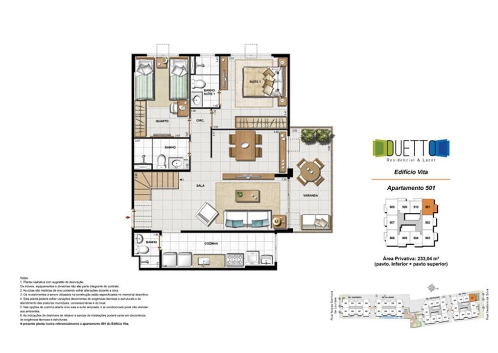 Cobertura Duplex - 3 Quartos com suíte - 233,04m² -pavto inferior+ pavto superior | Duetto Residencial & Lazer – Apartamentono  Grajaú - Rio de Janeiro - Rio de Janeiro