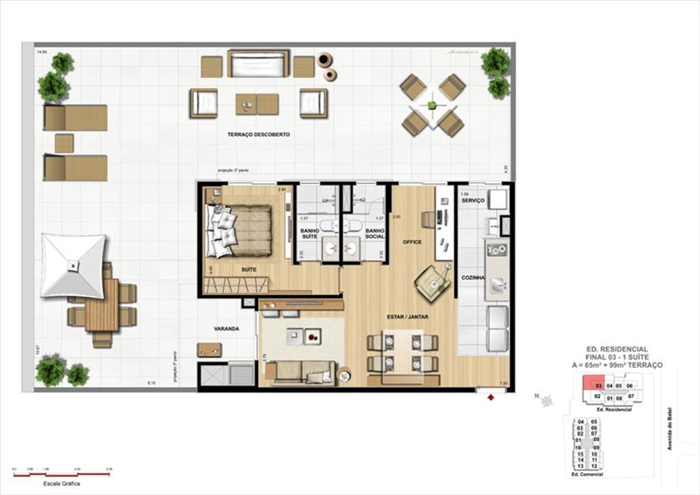Apartamento 1 Suíte com terraço | 1550 Batel (Home Batel) – Apartamentono  Batel - Curitiba - Paraná