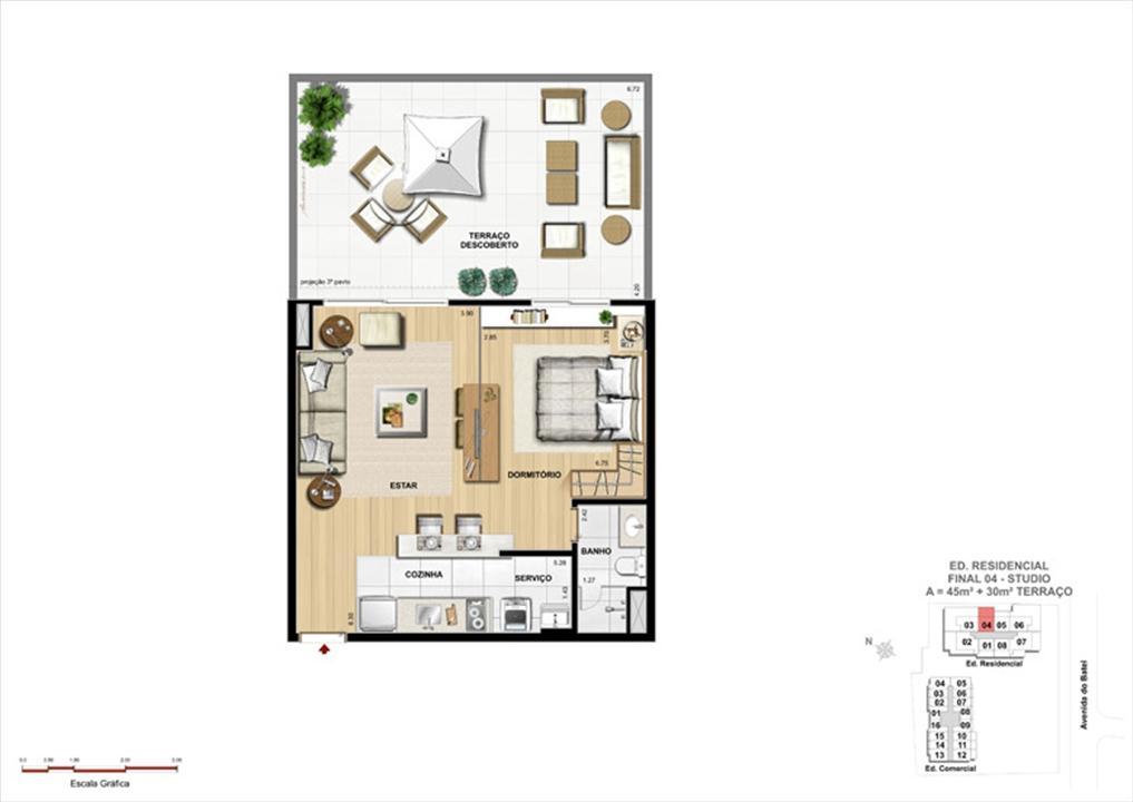Studio Garden | 1550 Batel (Home Batel) – Apartamentono  Batel - Curitiba - Paraná