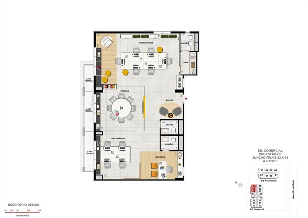 planta Modelo de Escritório de Design | 1550 Batel Comercial (Work Batel) – Salas Comerciaisno  Batel - Curitiba - Paraná