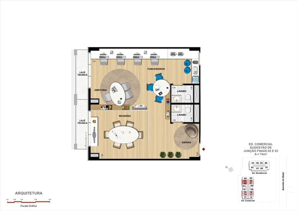 Modelo de Escritório de Arquitetura | 1550 Batel Comercial (Work Batel) – Salas Comerciaisno  Batel - Curitiba - Paraná