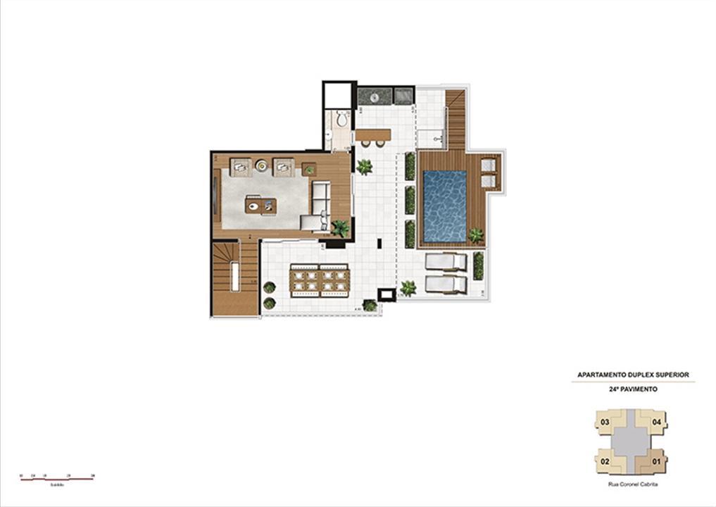 Duplex Superior – 215m² - Sala, lavabo, churrasqueira e piscina | Gioia – Apartamentona  Aclimação - São Paulo - São Paulo
