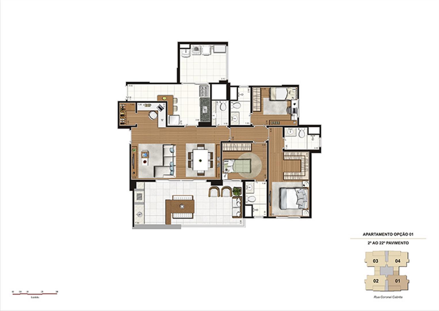 Planta tipo Opção 1 – 124m² - 3 suítes, Home Office e Adega | Gioia – Apartamento na  Aclimação - São Paulo - São Paulo