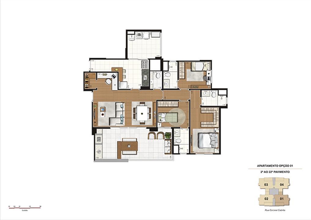 Planta tipo Opção 1 – 124m² - 3 suítes, Home Office e Adega | Gioia – Apartamentona  Aclimação - São Paulo - São Paulo