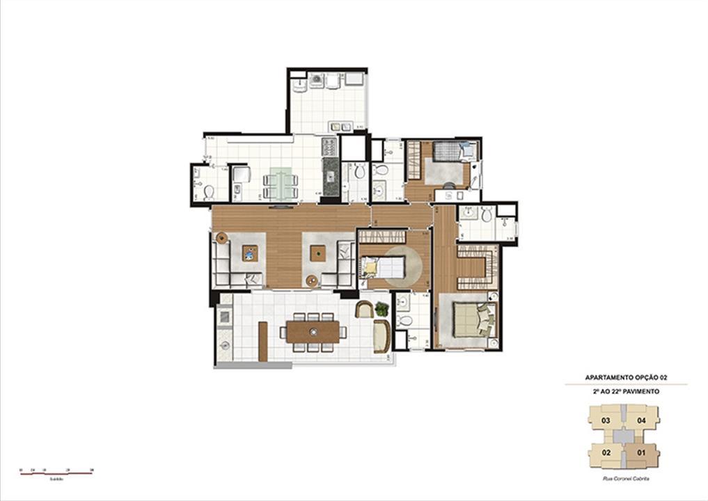 Planta tipo Opção 2 – 124m² - 3 suítes, cozinha ampliada | Gioia – Apartamentona  Aclimação - São Paulo - São Paulo