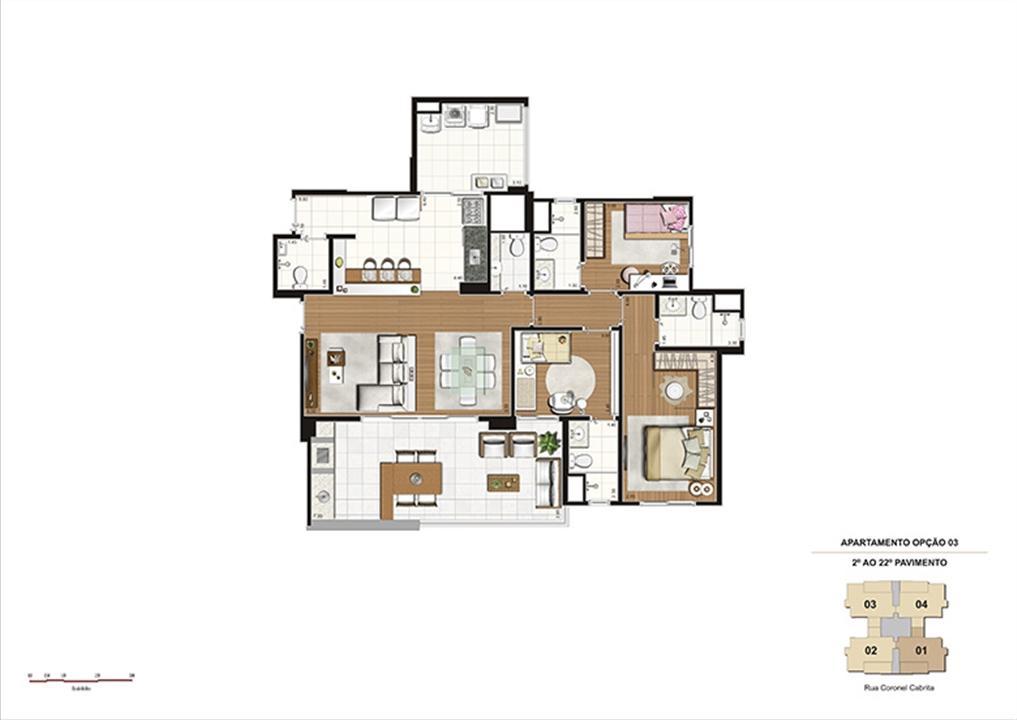 Planta tipo Opção 3 – 124m² - 3 suítes, cozinha ampliada e integrada à sala | Gioia – Apartamentona  Aclimação - São Paulo - São Paulo