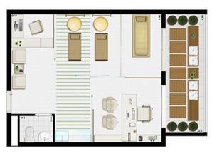 Planta tipo 45 m² (consultório de fisioterapia) | Villa Lobos Office Park – Apartamento no  Alto de Pinheiros - São Paulo - São Paulo