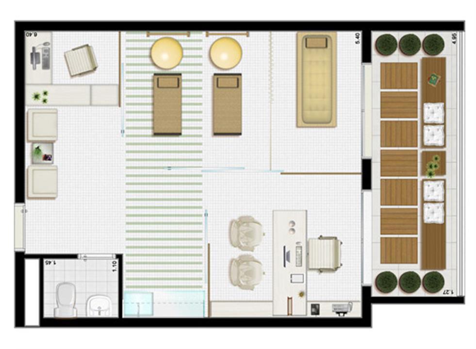 Planta tipo 45 m² (consultório de fisioterapia) | Villa Lobos Office Park – Apartamentono  Alto de Pinheiros - São Paulo - São Paulo
