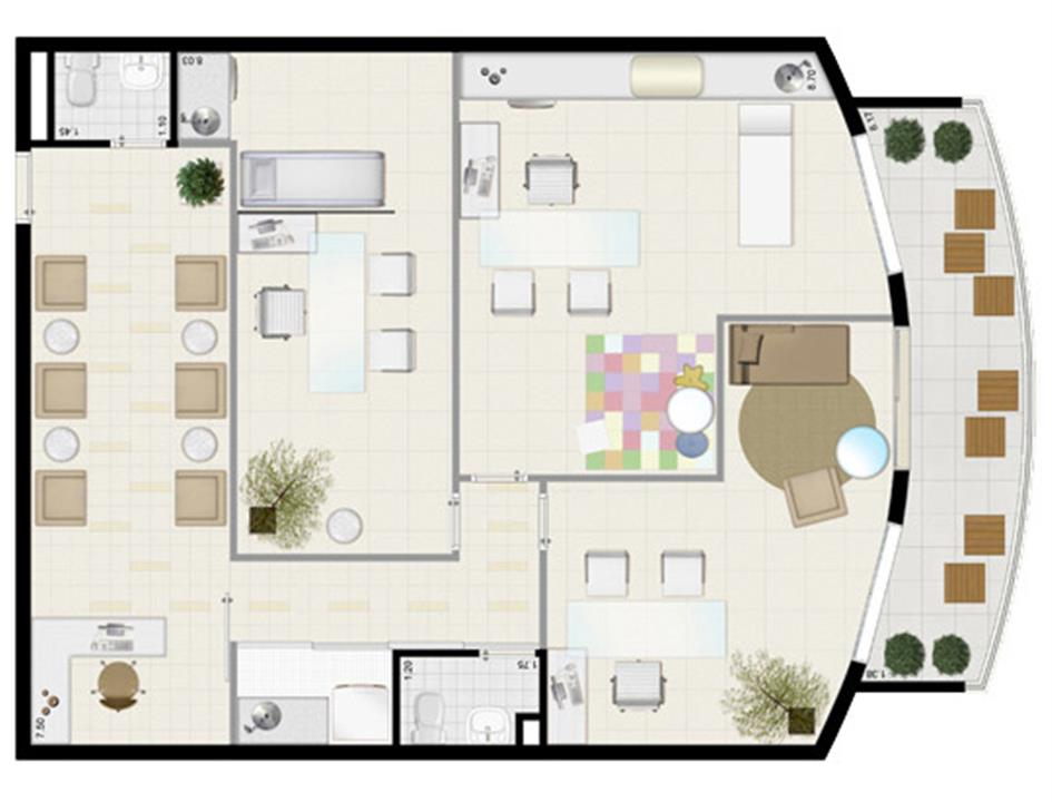 Planta tipo 110 m² (clínica médica) | Villa Lobos Office Park – Apartamentono  Alto de Pinheiros - São Paulo - São Paulo