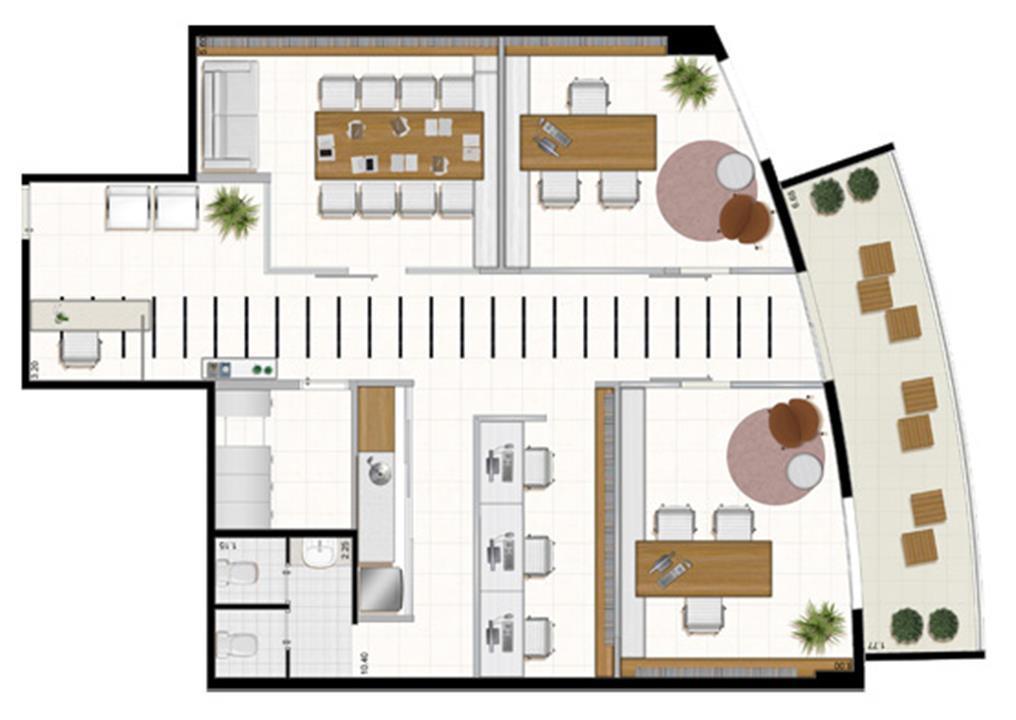 Planta tipo   130 m² (escritório de advocacia) | Villa Lobos Office Park – Apartamentono  Alto de Pinheiros - São Paulo - São Paulo