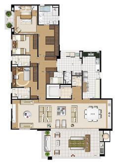 Planta opção   227 m² | Cristall Aclimação – Apartamento na  Aclimação - São Paulo - São Paulo