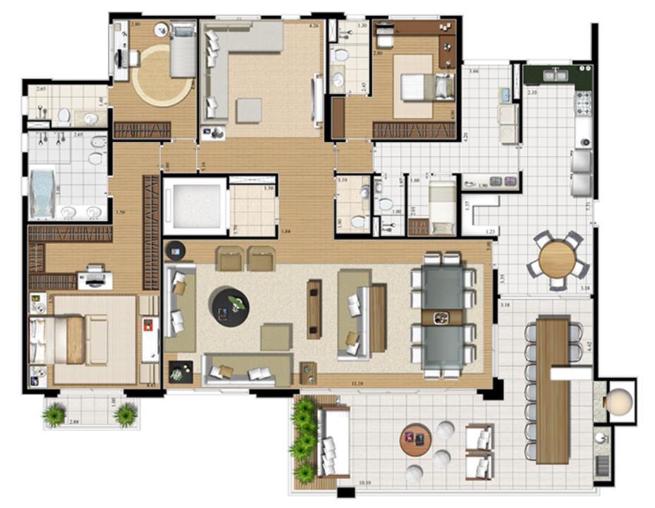 Planta opção   275 m² | Cristall Aclimação – Apartamentona  Aclimação - São Paulo - São Paulo