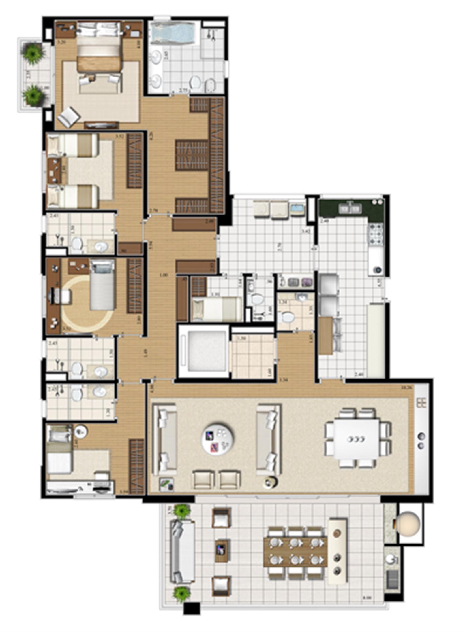 Planta tipo   227 m² | Cristall Aclimação – Apartamentona  Aclimação - São Paulo - São Paulo