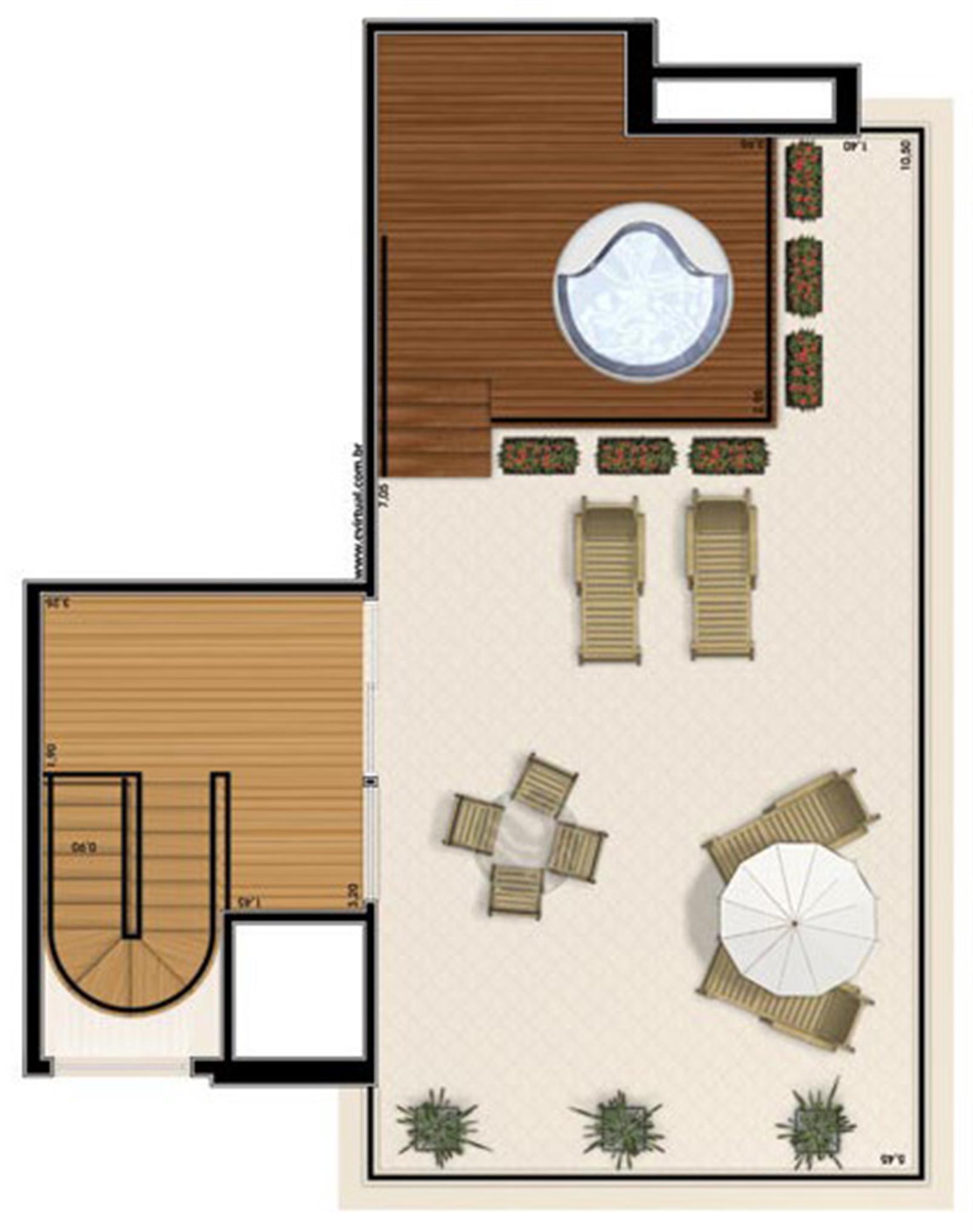 Planta-tipo - 3 suítes - 300m² privativos - Piso Superior (Verbera Triple Floor) | Essência Alphaville – Apartamentoem  Alphaville - Barueri - São Paulo