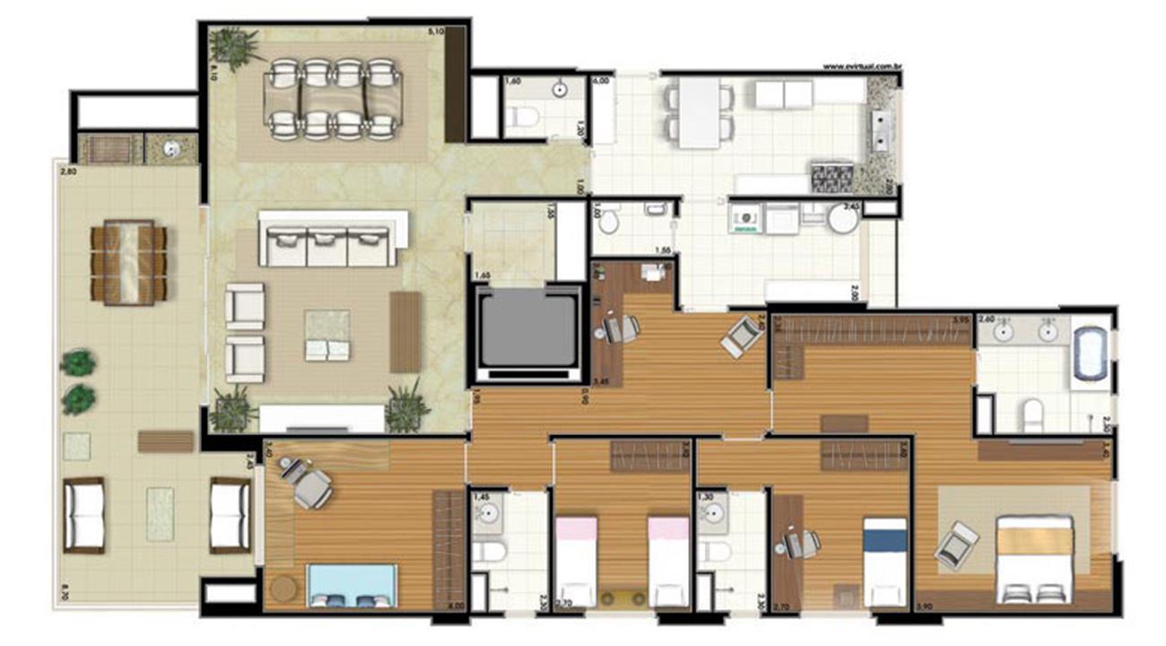 Planta-tipo - 4 dormitórios (2 suítes) - 207m² privativos (Néroli one floor) | Essência Alphaville – Apartamentoem  Alphaville - Barueri - São Paulo