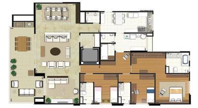 Planta-opção - 3 suítes - Sala Ampliada - 207m² privativos (Néroli one floor) | Essência Alphaville – Apartamento em  Alphaville - Barueri - São Paulo