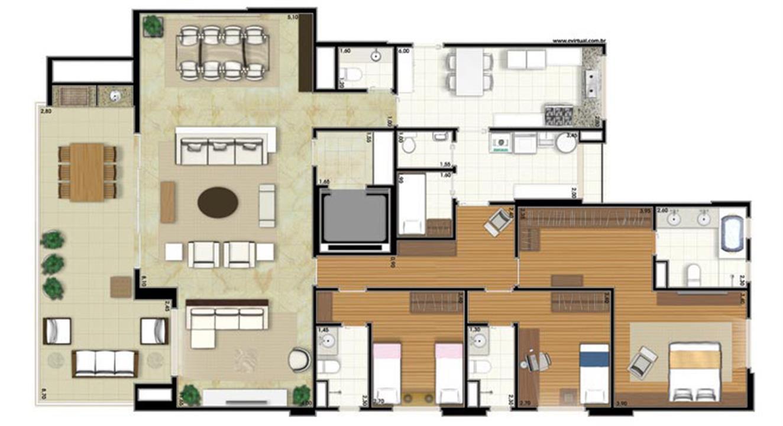 Planta-opção - 3 suítes - Sala Ampliada - 207m² privativos (Néroli one floor) | Essência Alphaville – Apartamentoem  Alphaville - Barueri - São Paulo
