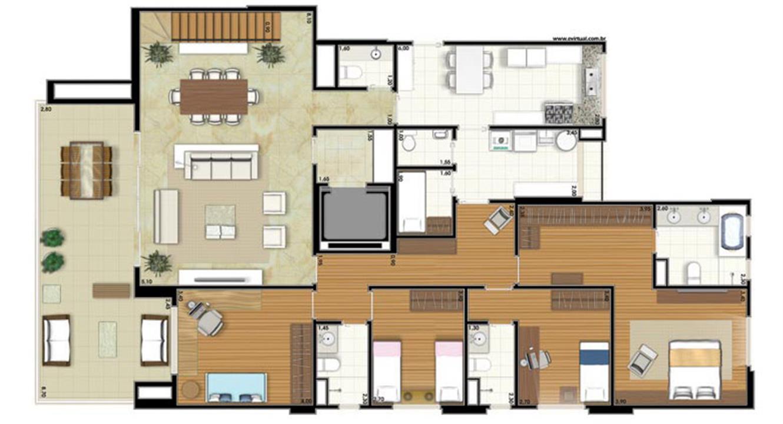 Planta-tipo - 4 dormitórios (2 suítes) - 412m² privativos - Piso Inferior (Néroli Double Floor) | Essência Alphaville – Apartamentoem  Alphaville - Barueri - São Paulo