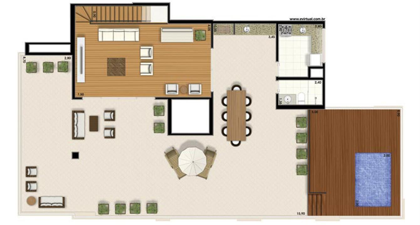 Planta-tipo - 4 dormitórios (2 suítes) - 412m² privativos - Piso Superior (Néroli Double Floor) | Essência Alphaville – Apartamentoem  Alphaville - Barueri - São Paulo
