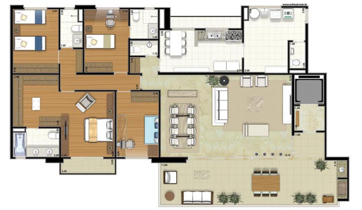 Planta-tipo - 4 dormitórios (2 suítes) - 212m² privativos (Néroli Varanda one floor) | Essência Alphaville – Apartamentoem  Alphaville - Barueri - São Paulo