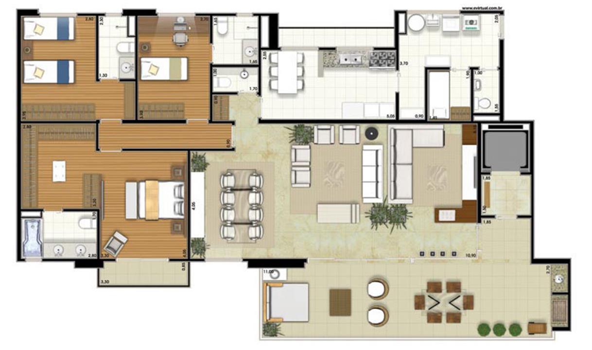 Planta-opção - 3 suítes - Sala Ampliada - 212m² privativos (Néroli Varanda one floor) | Essência Alphaville – Apartamentoem  Alphaville - Barueri - São Paulo