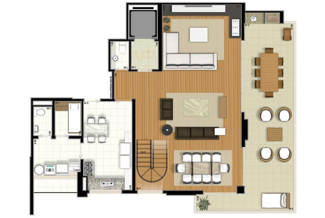Planta-tipo - 3 suítes - 220m² privativos - Piso Inferior (Verbera Double Floor) | Essência Alphaville – Apartamentoem  Alphaville - Barueri - São Paulo