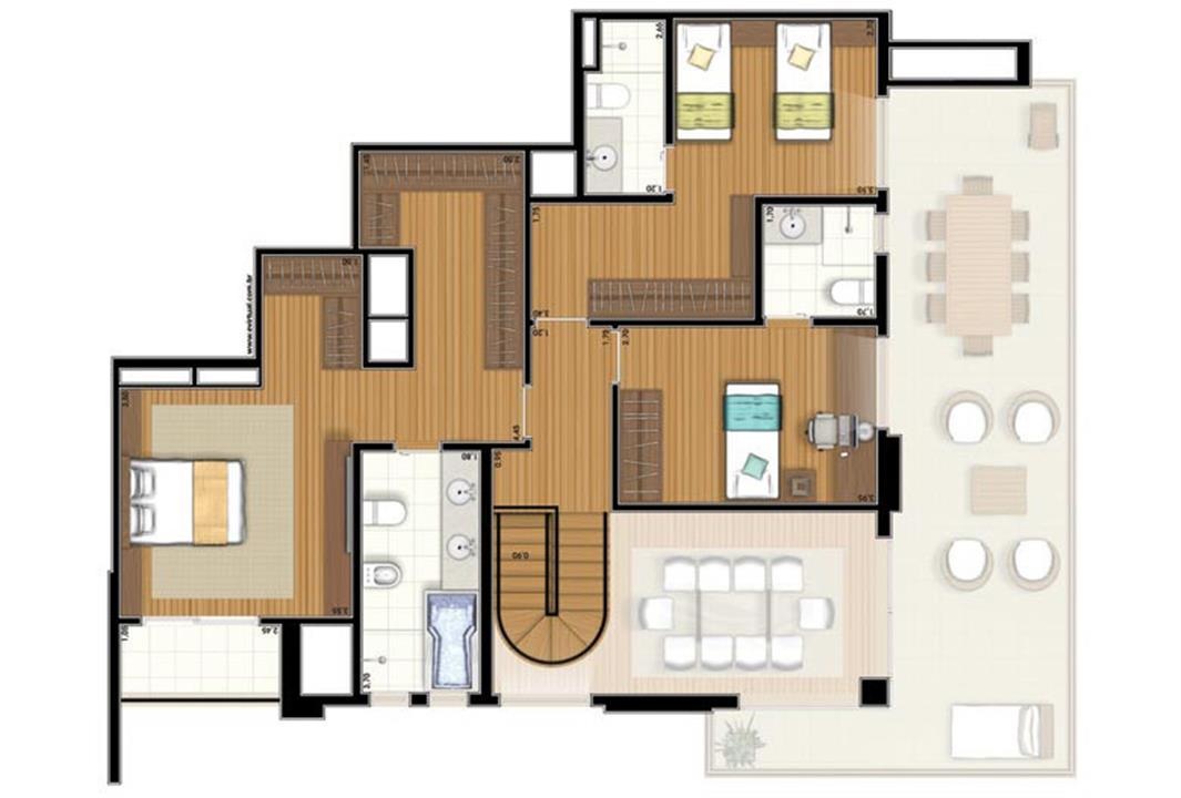 Planta-tipo - 3 suítes - 220m² privativos - Piso Superior (Verbera Double Floor) | Essência Alphaville – Apartamentoem  Alphaville - Barueri - São Paulo