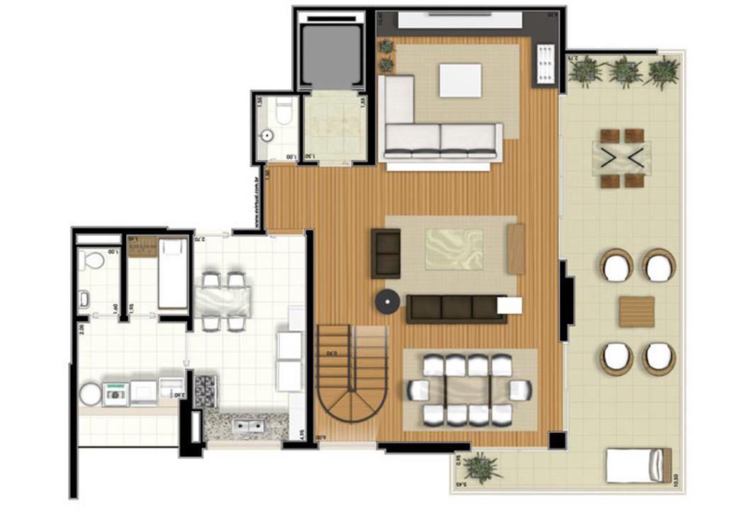 Planta-tipo - 3 suítes - 300m² privativos - Piso Inferior (Verbera Triple Floor) | Essência Alphaville – Apartamentoem  Alphaville - Barueri - São Paulo