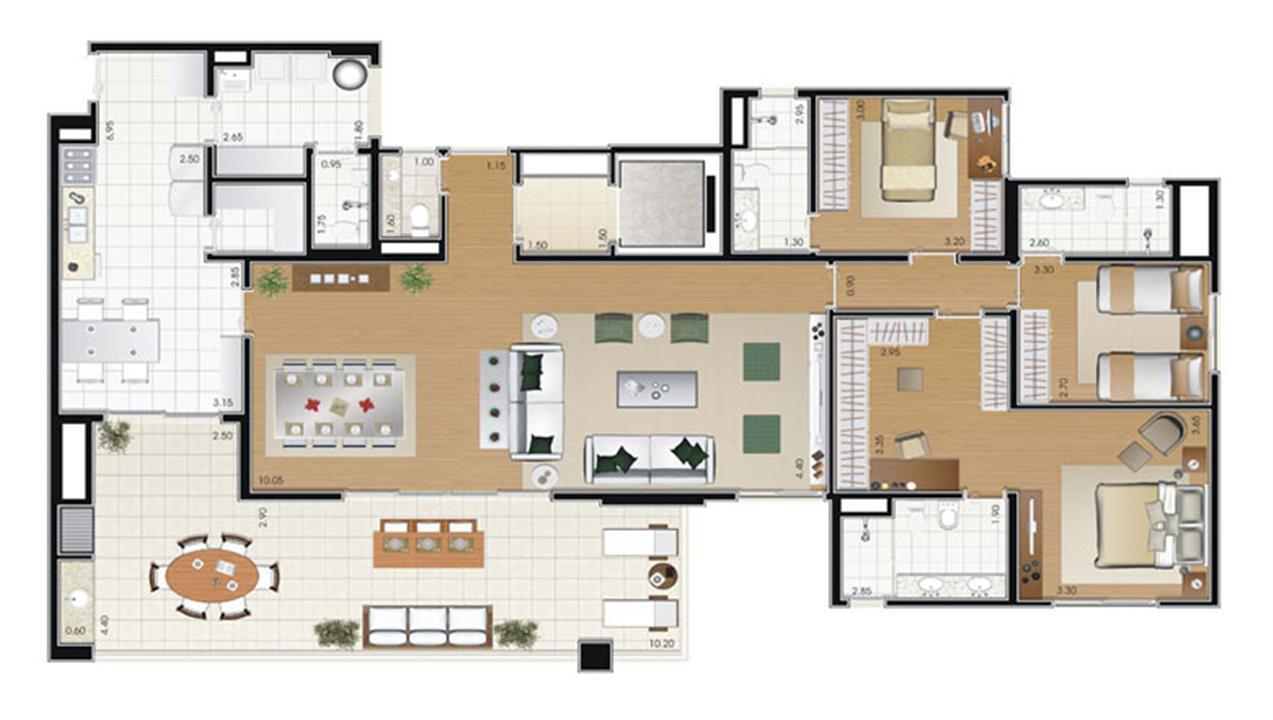 Planta Tipo com sala ampliada 192m² | Florae Aclimação – Apartamentona  Aclimação - São Paulo - São Paulo