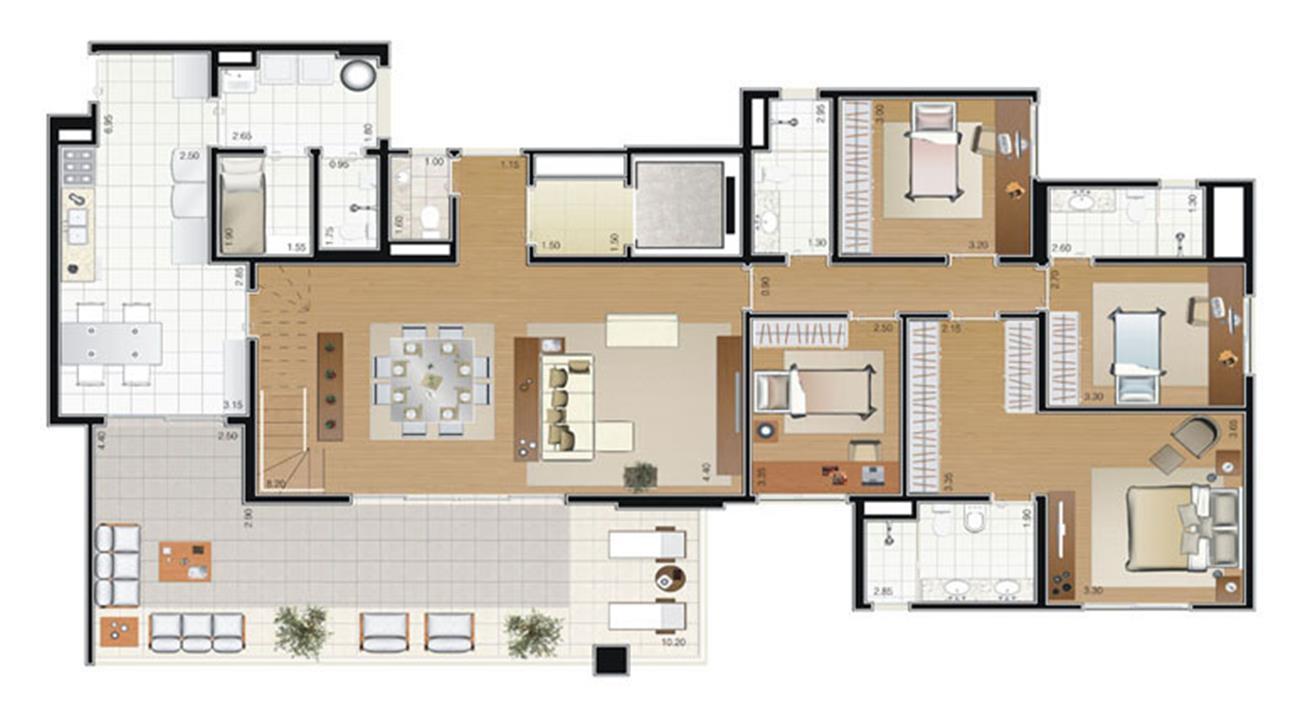 Planta Duplex 335m² (pavimento inferior) | Florae Aclimação – Apartamentona  Aclimação - São Paulo - São Paulo