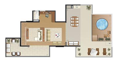 Planta Duplex 335m² (pavimento superior) | Florae Aclimação – Apartamento na  Aclimação - São Paulo - São Paulo