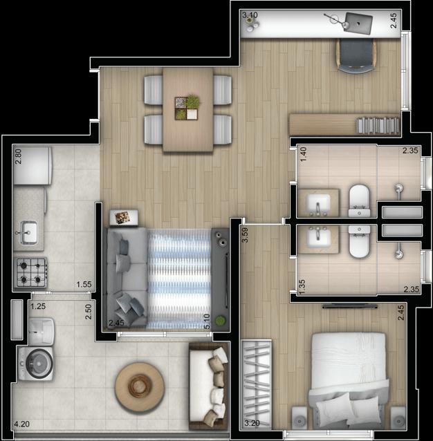 Planta Opção 60m² | 1 suíte com sala ampliada
