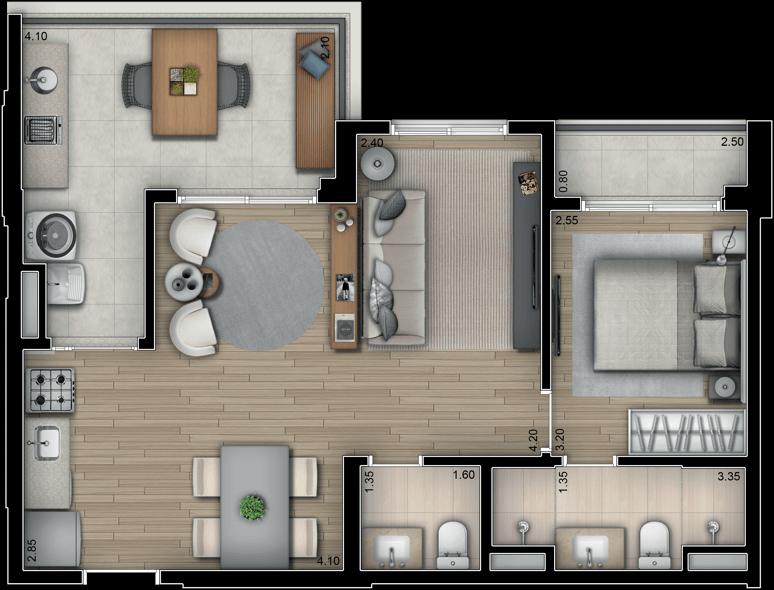 Planta Opção 65m² | 1 suíte com sala ampliada